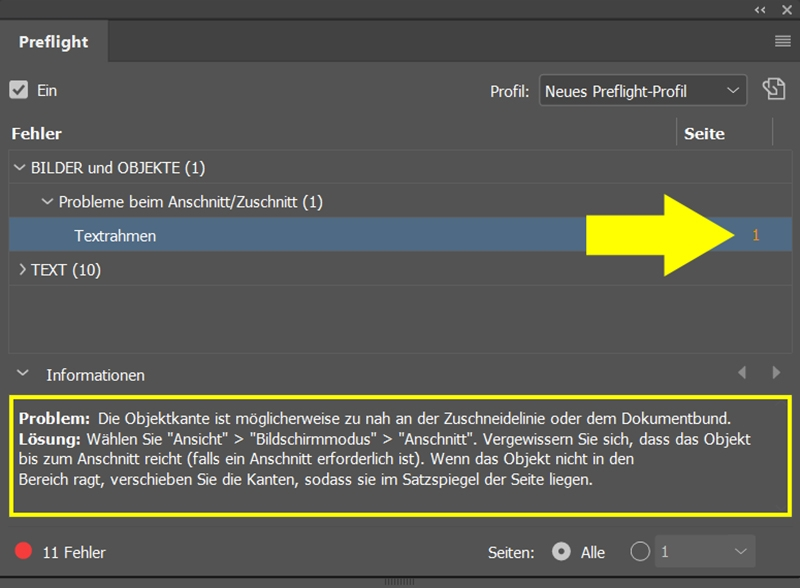 InDesign | Fehlerkorrektur 'BILDER und OBJEKTE' > 'Probleme beim Anschnitt/Zuschnitt' > 'Textrahmen' - Bild 1