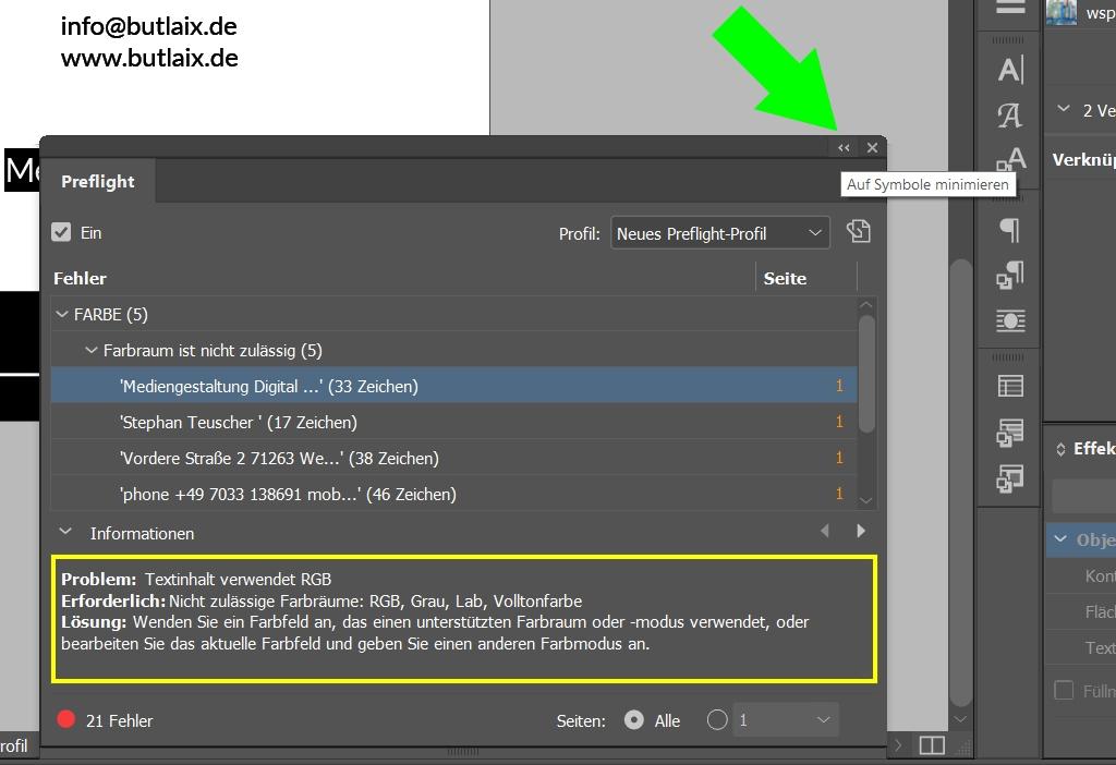 InDesign | Fehlerkorrektur 'FARBE' > 'Farbraum ist nicht zulässig' > Textinhalte - Bild 1