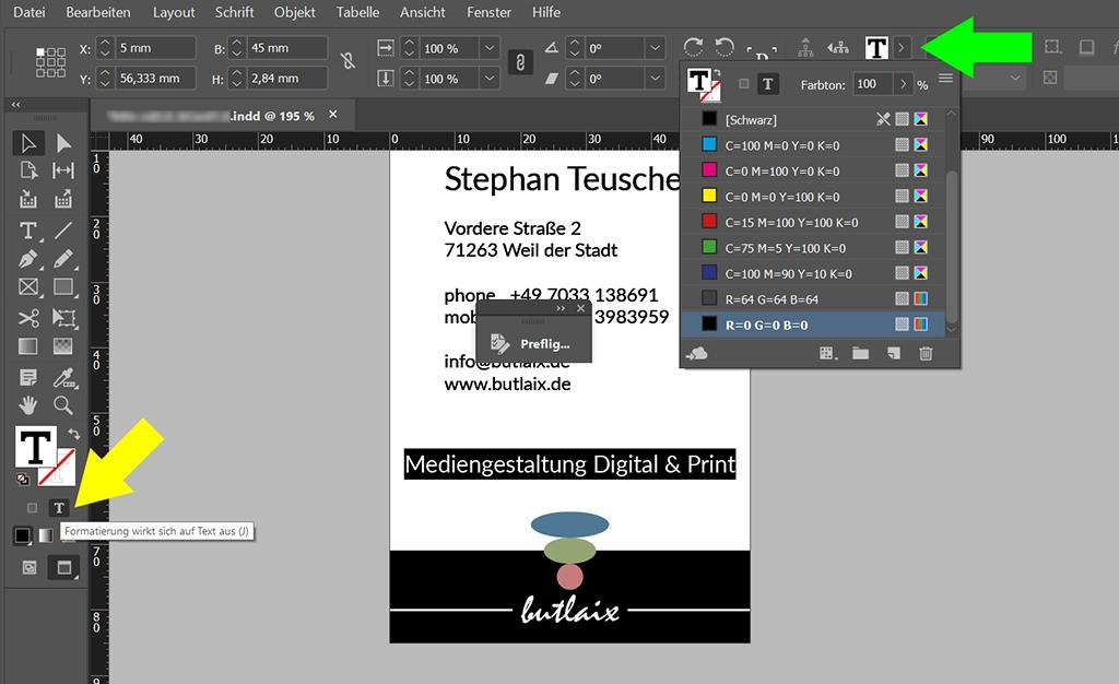 InDesign | Fehlerkorrektur 'FARBE' > 'Farbraum ist nicht zulässig' > Textinhalte - Bild 2