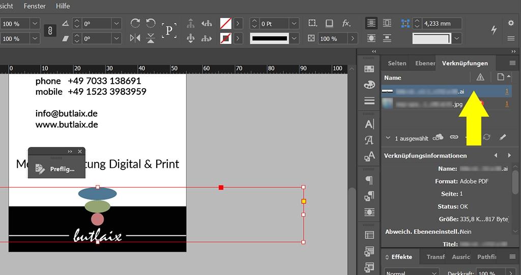 InDesign | Fehlerkorrektur 'FARBE' > 'Farbraum ist nicht zulässig' > verknüpfte Illustrator-Datei - Bild 2