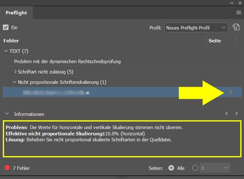 InDesign | Fehlerkorrektur 'TEXT' > 'Nicht proportionale Schriftenskalierung' - Bild 1