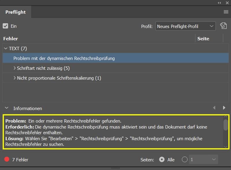 InDesign | Fehlerkorrektur 'TEXT' > 'Problem mit der dynamischen Rechtschreibprüfung' - Bild 1