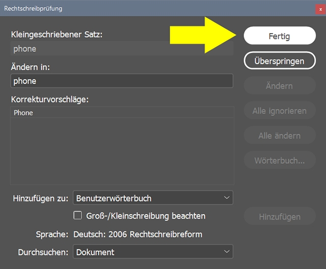 InDesign | Fehlerkorrektur 'TEXT' > 'Problem mit der dynamischen Rechtschreibprüfung' - Bild 4