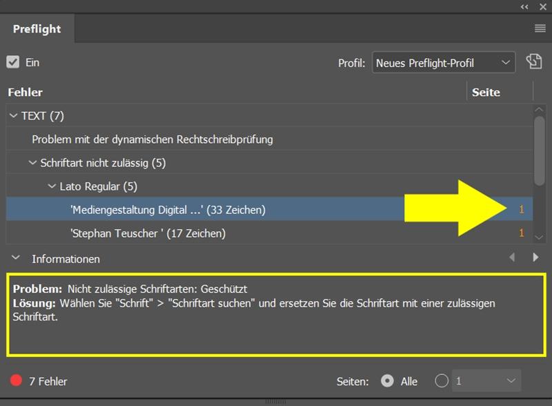 InDesign | Fehlerkorrektur 'TEXT' > 'Schriftart nicht zulässig' > 'Lato Regular' (verwendete Schriftart)