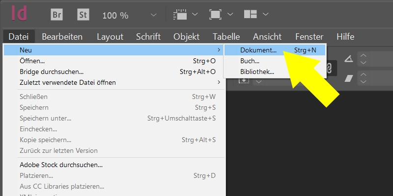 InDesign | Neues Dokument anlegen - Bild 1