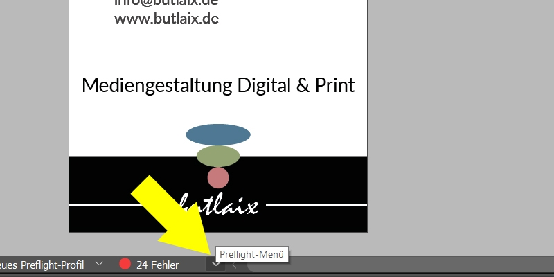 InDesign | Preflight-Bedienfeld aufrufen - Bild 1