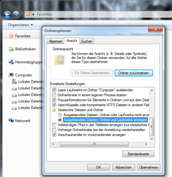 Windows-Explorer - Ordneroptionen