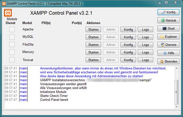 XAMPP Verwaltungsoberfläche
