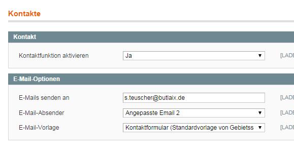 Magento - Konfiguration: Kontakte