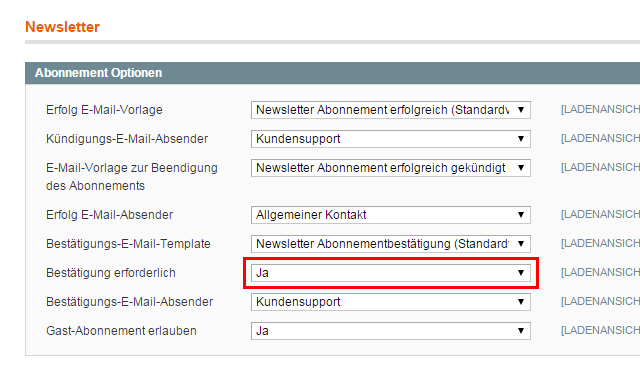 Magento - Systemkonfiguration: Kunden (2)
