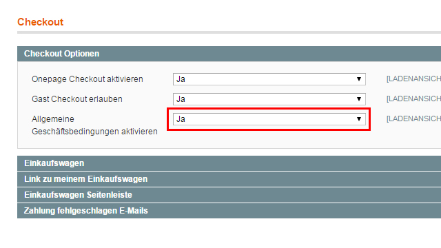 Magento - Systemkonfiguration: Verkäufe (2)