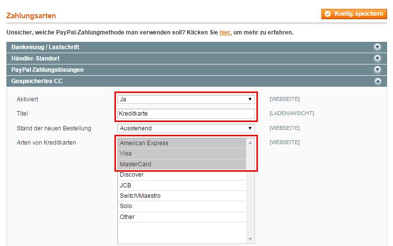 Magento - Systemkonfiguration: Verkäufe (4)