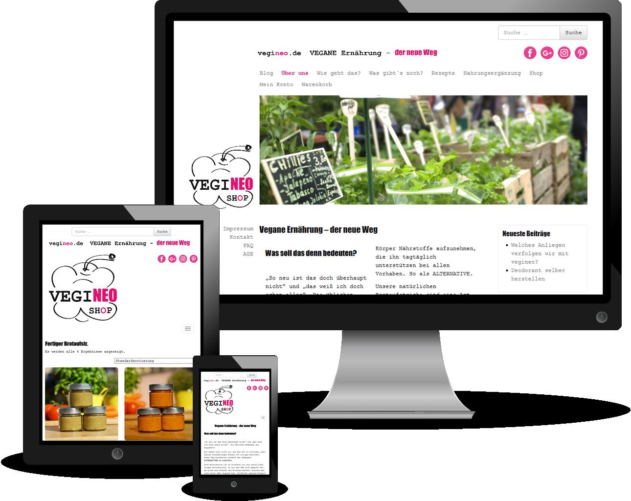 "Website-Projekt ""vegineo.de | Vegane Ernährung – der neue Weg"""