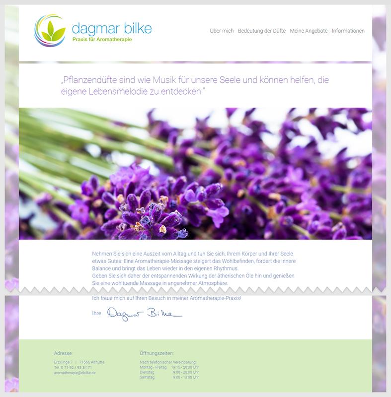 """Website-Projekt """"Dagmar Bilke – Praxis für Aromatherapie"""""""