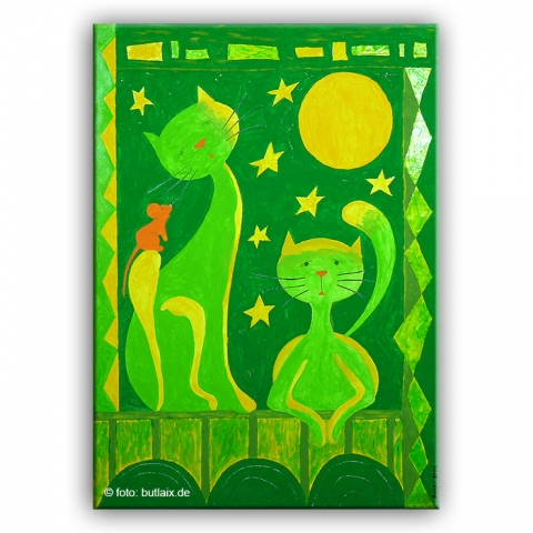 Fotografierte Kunst: »Katzen grün« von Ursula Pech - up-kreativ-art.de