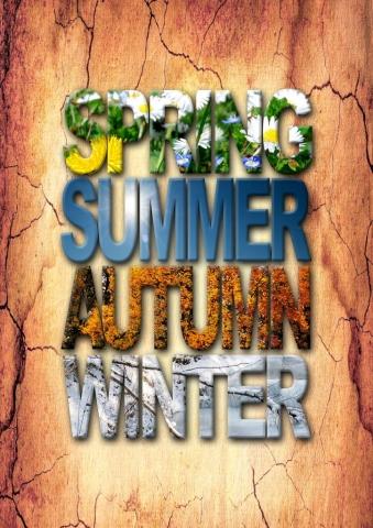Bild: Plakat/Anzeige in Adobe Photoshop (freie Arbeit) - Thema: Vier Jahreszeiten