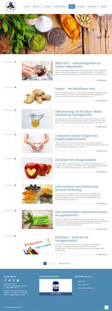 Bild: Website 'naturplan-a-z.de' - Ansicht Desktop _ Page »Blog«