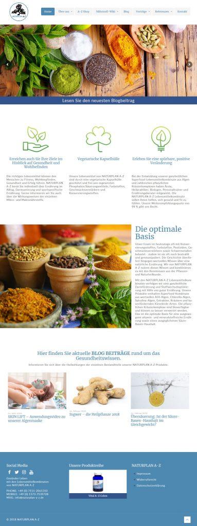 Bild: Website 'naturplan-a-z.de' - Ansicht Desktop _ Page »Home«