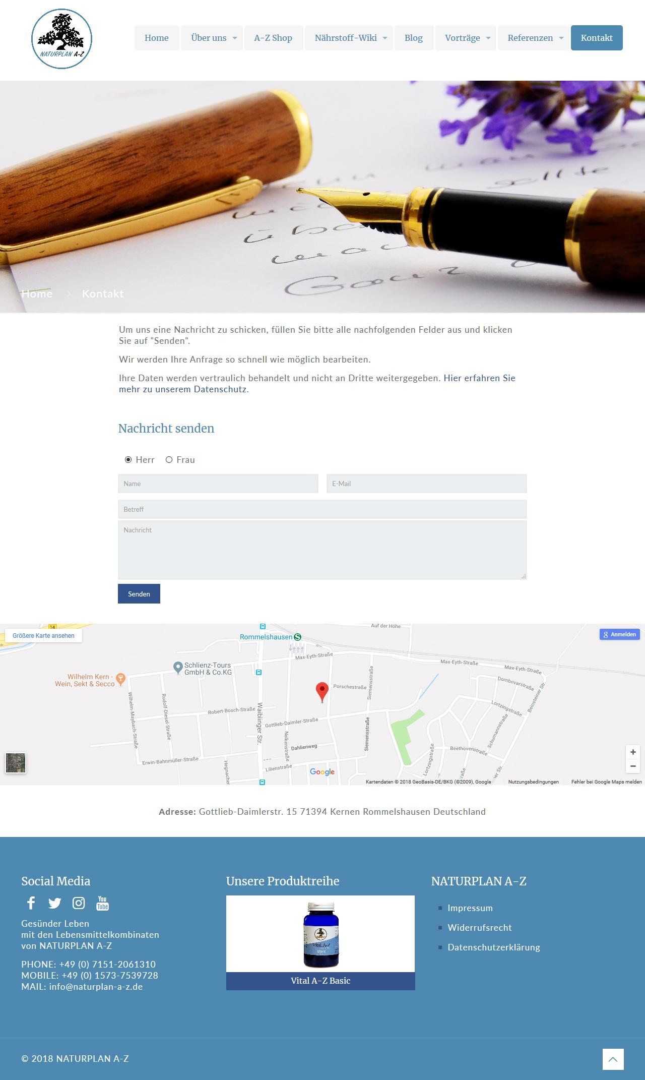 Bild: Website 'naturplan-a-z.de' - Ansicht Desktop _ Page »Kontakt«