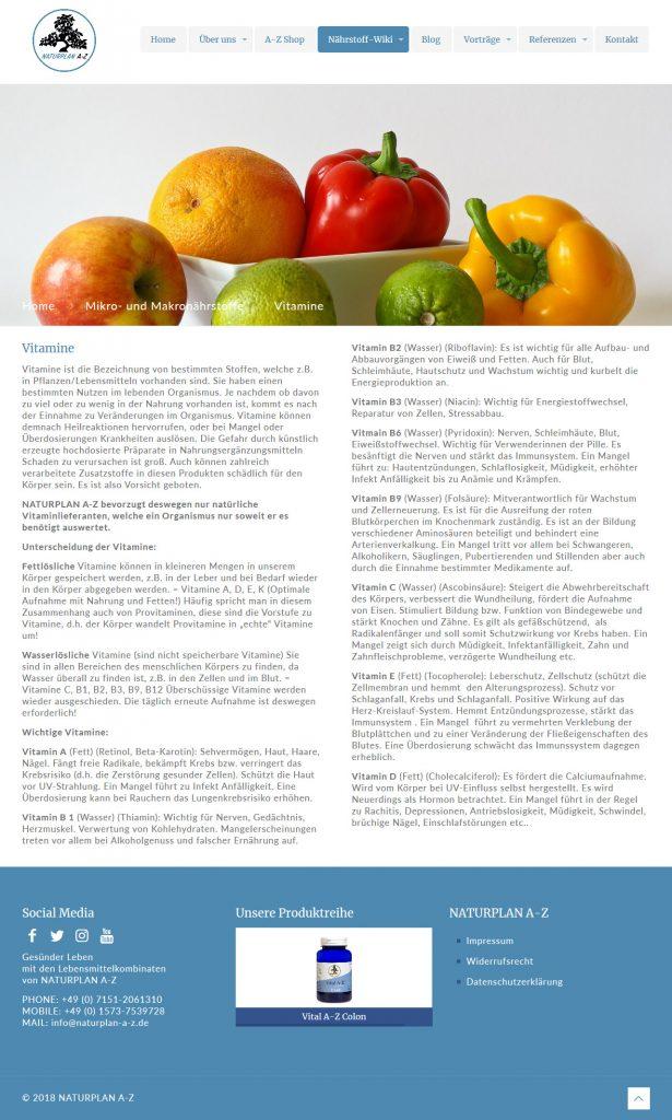Bild: Website 'naturplan-a-z.de' - Ansicht Desktop _ Page »Vitamine«
