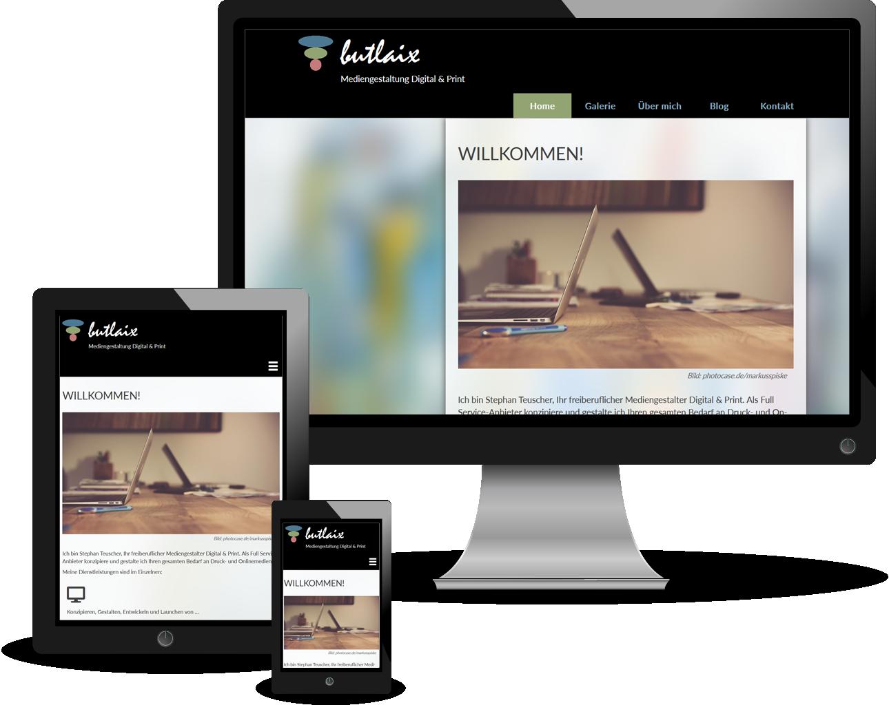 Bild: Ansicht Website 'butlaix.de' auf verschiedenen Gerätegrößen