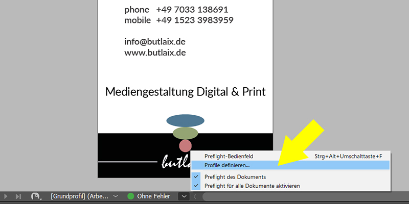 Bild: InDesign - Profile definieren