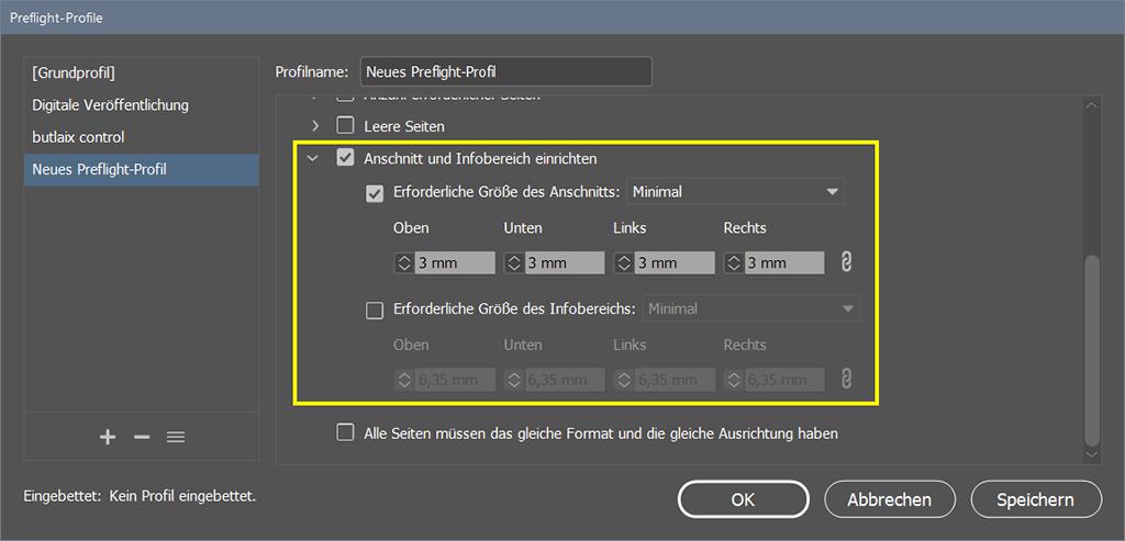 Bild: InDesign - Preflight-Einstellungen 'Anschnitt und Infobereich einrichten'