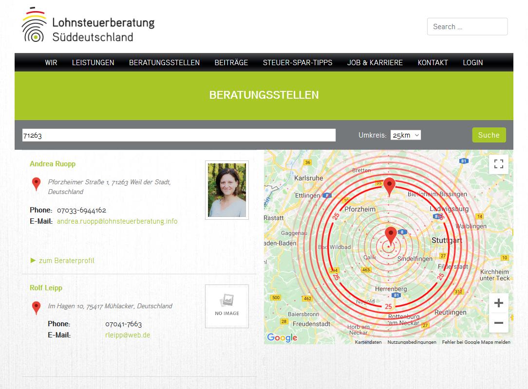 Bild: Website 'lohnsteuerberatung-sueddeutschland.de' - Ansicht Desktop _ One-Page Section »Google Maps«